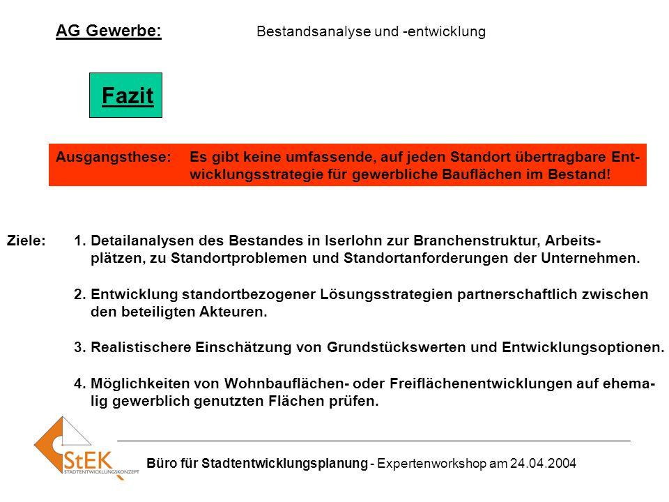Fazit AG Gewerbe: Bestandsanalyse und -entwicklung