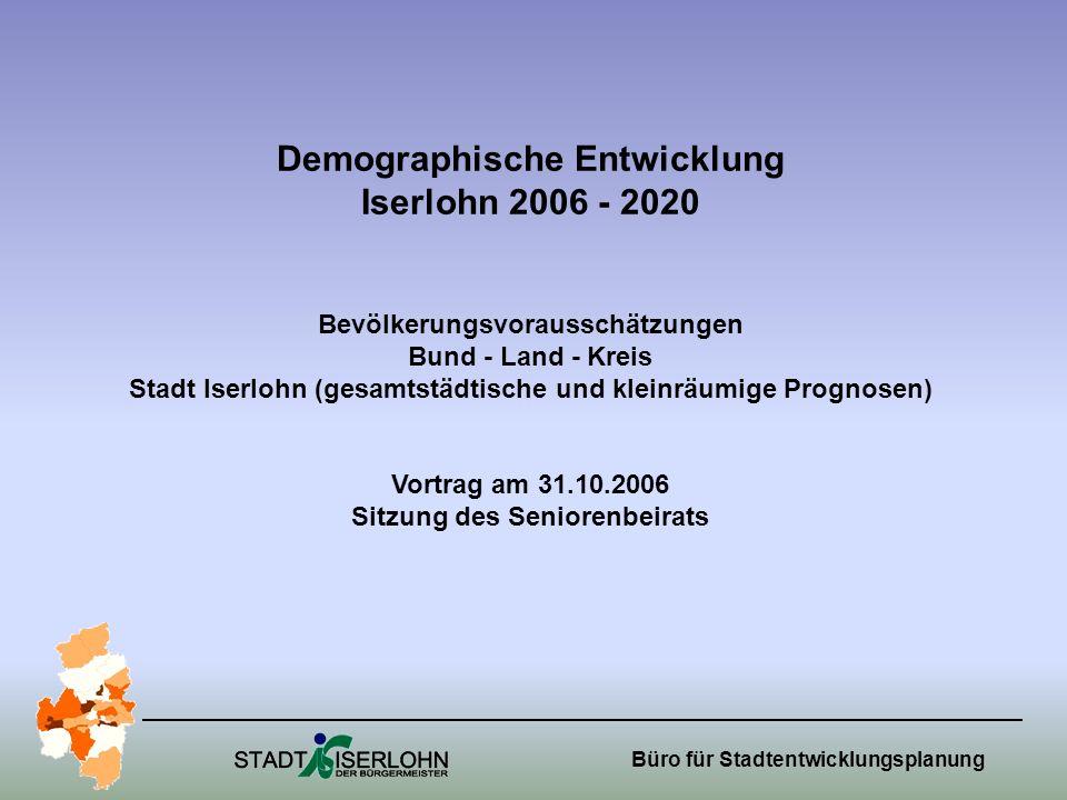 Demographische Entwicklung Iserlohn 2006 - 2020