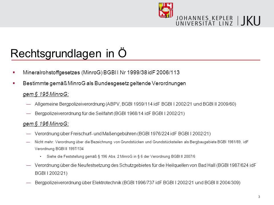 Rechtsgrundlagen in Ö Mineralrohstoffgesetzes (MinroG) BGBl I Nr 1999/38 idF 2006/113. Bestimmte gemäß MinroG als Bundesgesetz geltende Verordnungen.