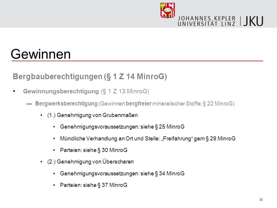 Gewinnen Bergbauberechtigungen (§ 1 Z 14 MinroG)