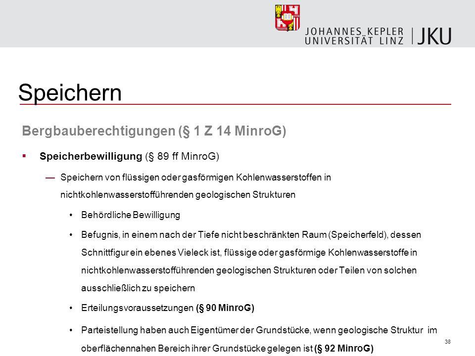 Speichern Bergbauberechtigungen (§ 1 Z 14 MinroG)