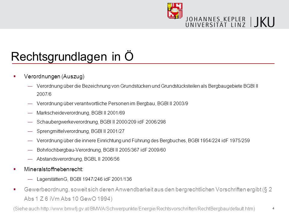 Rechtsgrundlagen in Ö Verordnungen (Auszug) Mineralstoffnebenrecht: