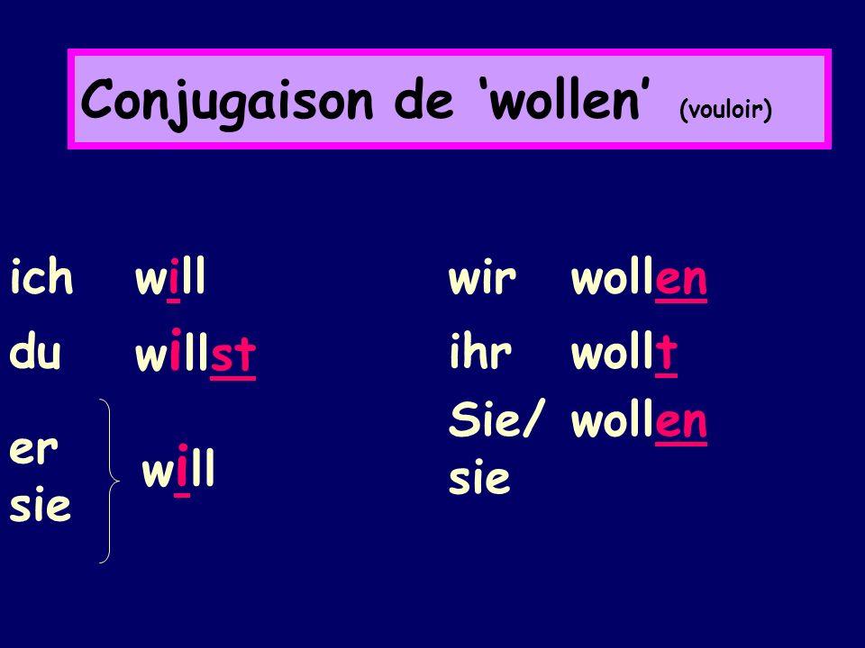 Conjugaison de 'wollen' (vouloir)