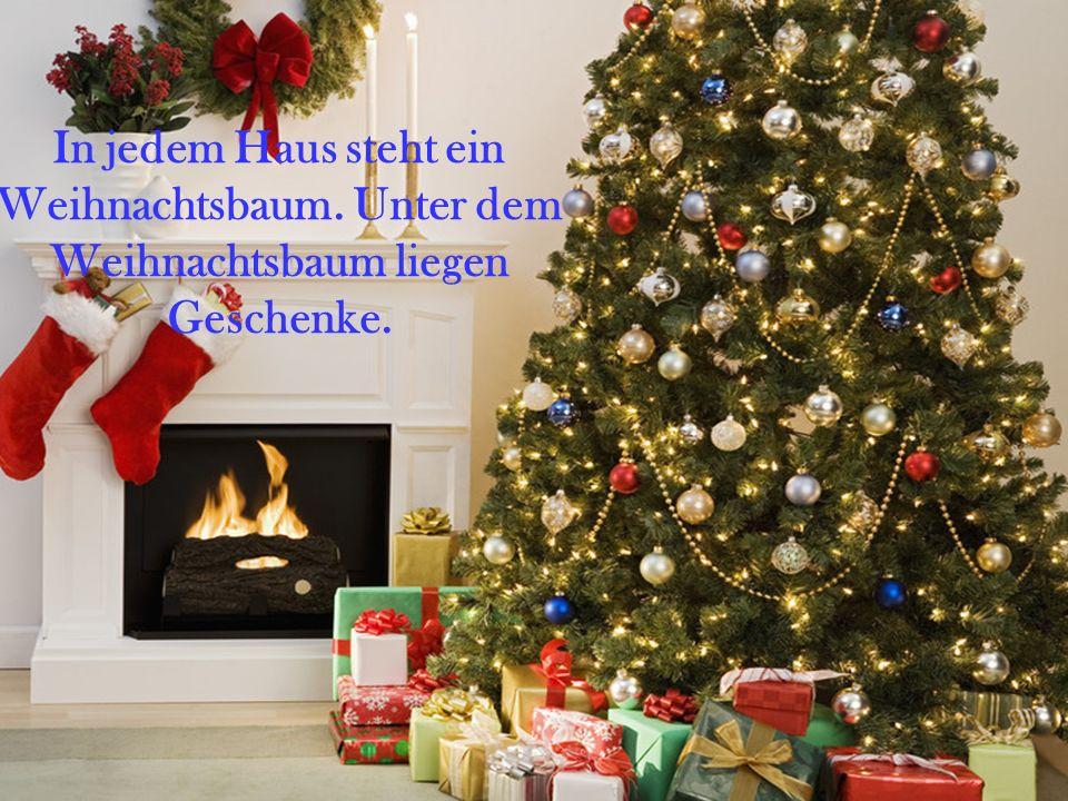 In jedem Haus steht ein Weihnachtsbaum. Unter dem Weihnachtsbaum liegen