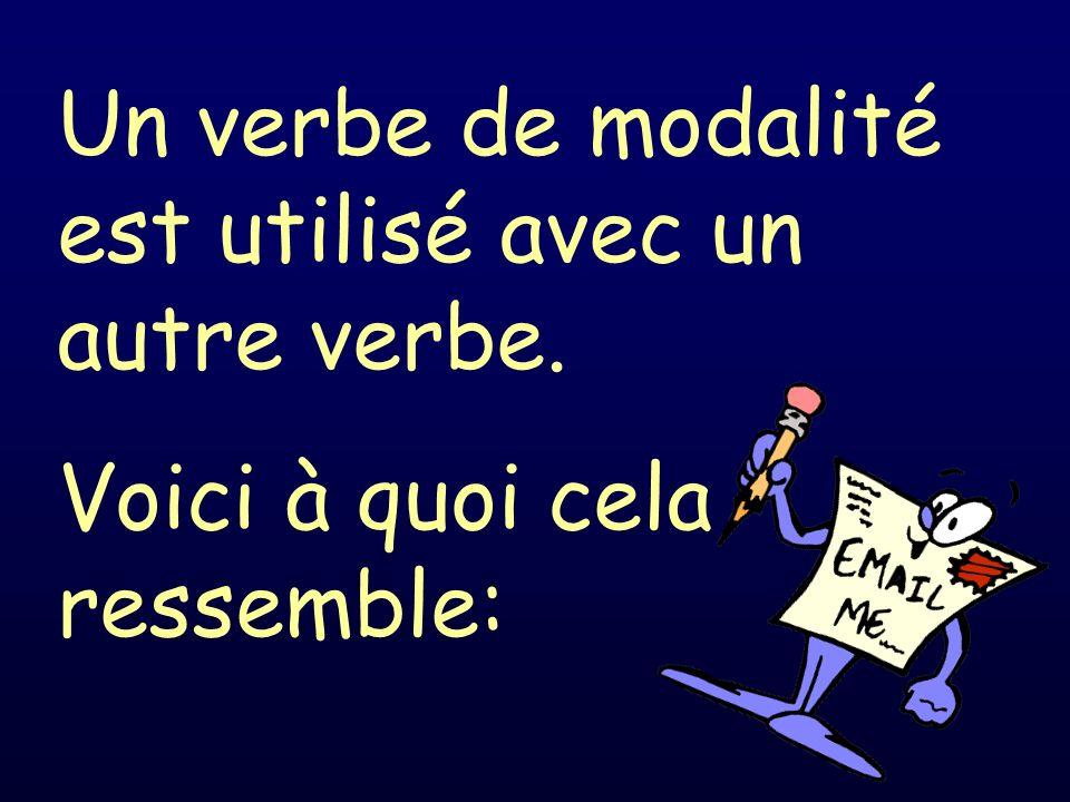 Un verbe de modalité est utilisé avec un autre verbe.