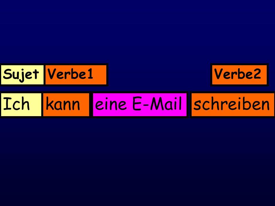 Sujet Verbe1 Verbe2 Ich kann eine E-Mail schreiben