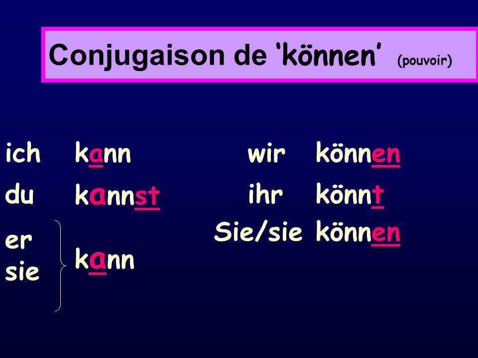 Conjugaison de 'können' (pouvoir)