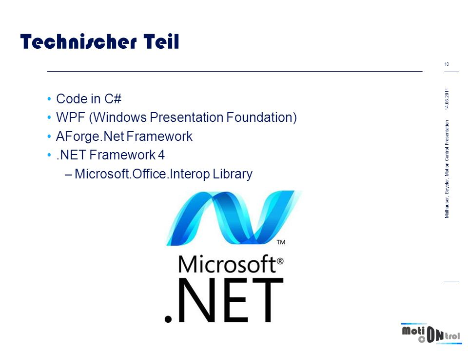Technischer Teil Code in C# WPF (Windows Presentation Foundation)