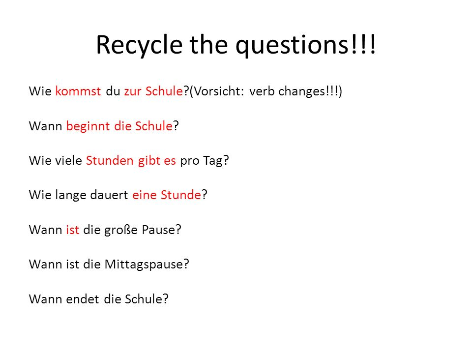 Recycle the questions!!!