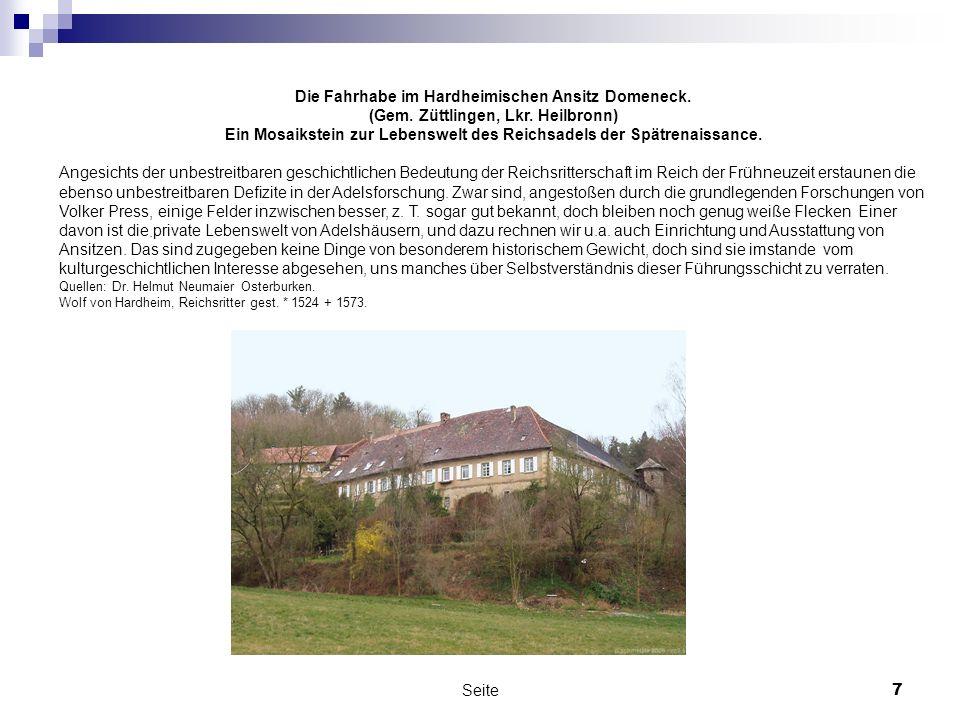 Die Fahrhabe im Hardheimischen Ansitz Domeneck.