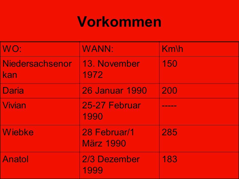 Vorkommen WO: WANN: Km\h Niedersachsenorkan 13. November 1972 150