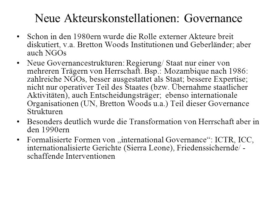 Neue Akteurskonstellationen: Governance