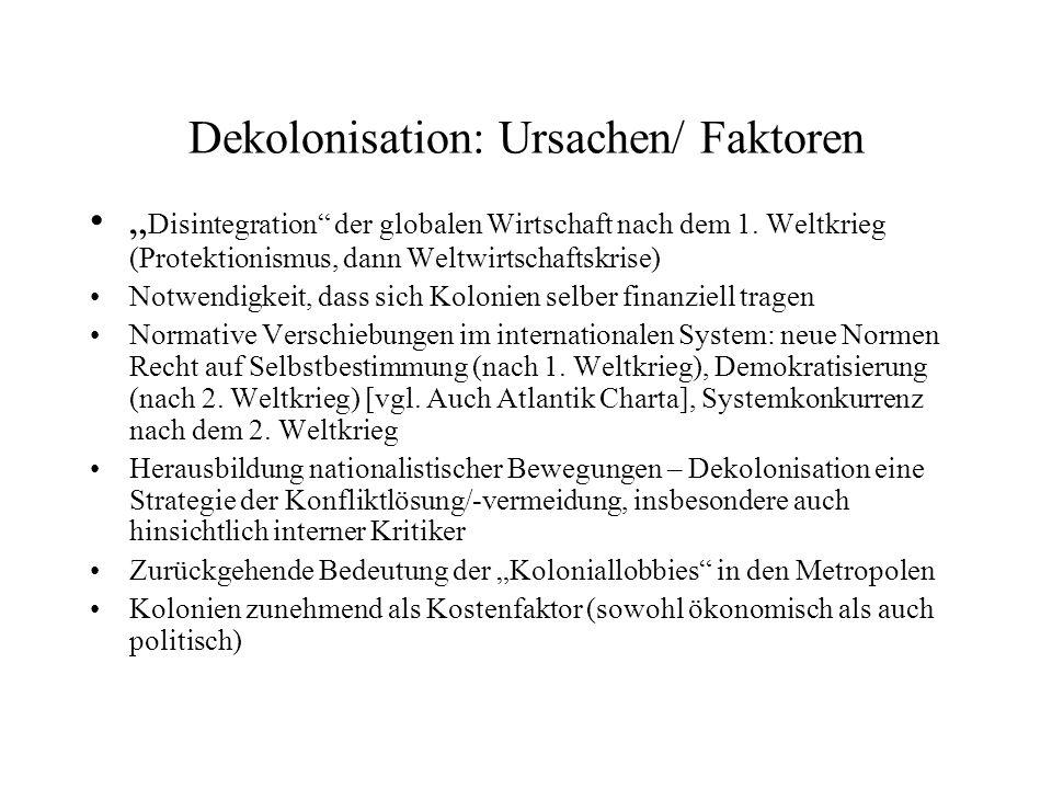 Dekolonisation: Ursachen/ Faktoren