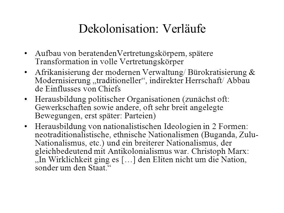 Dekolonisation: Verläufe