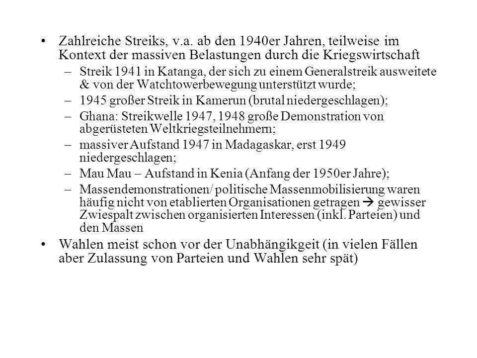 Zahlreiche Streiks, v.a. ab den 1940er Jahren, teilweise im Kontext der massiven Belastungen durch die Kriegswirtschaft