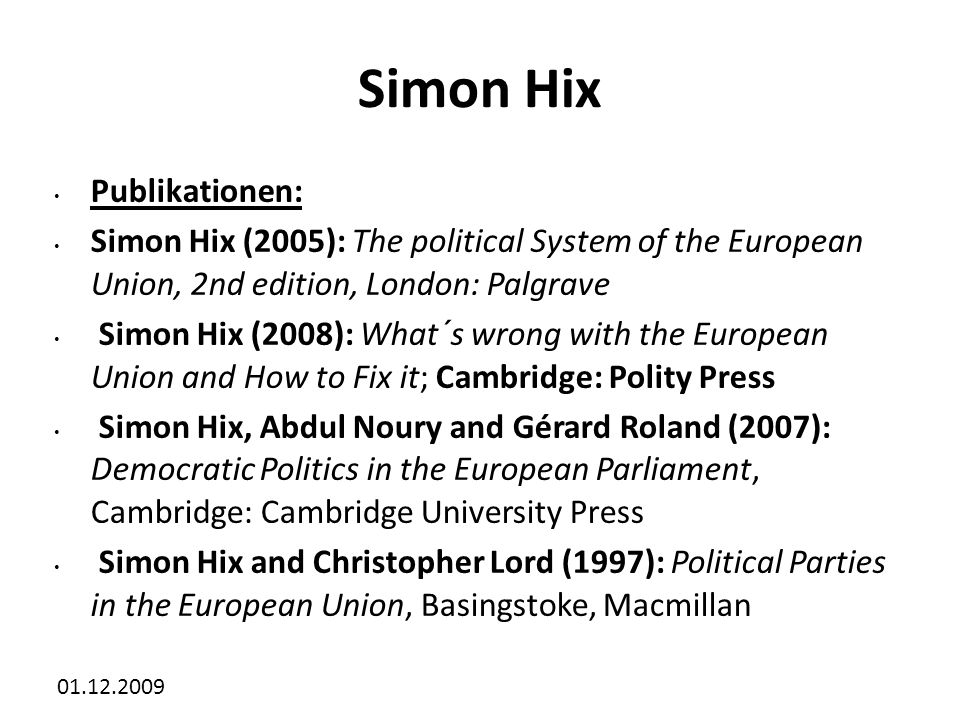 Simon Hix Publikationen: