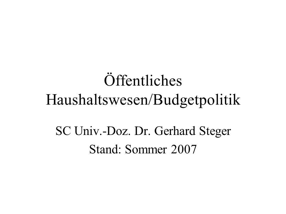 Öffentliches Haushaltswesen/Budgetpolitik