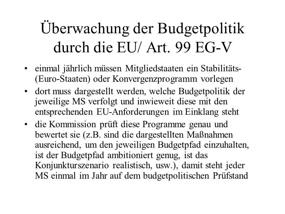 Überwachung der Budgetpolitik durch die EU/ Art. 99 EG-V