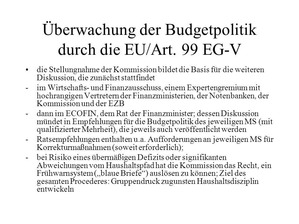 Überwachung der Budgetpolitik durch die EU/Art. 99 EG-V