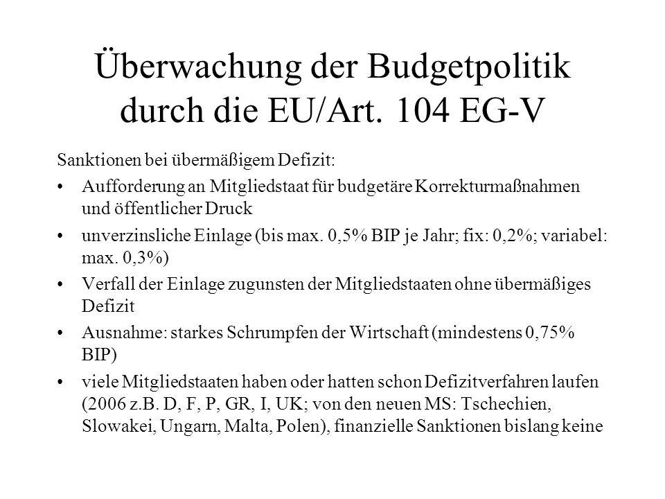 Überwachung der Budgetpolitik durch die EU/Art. 104 EG-V