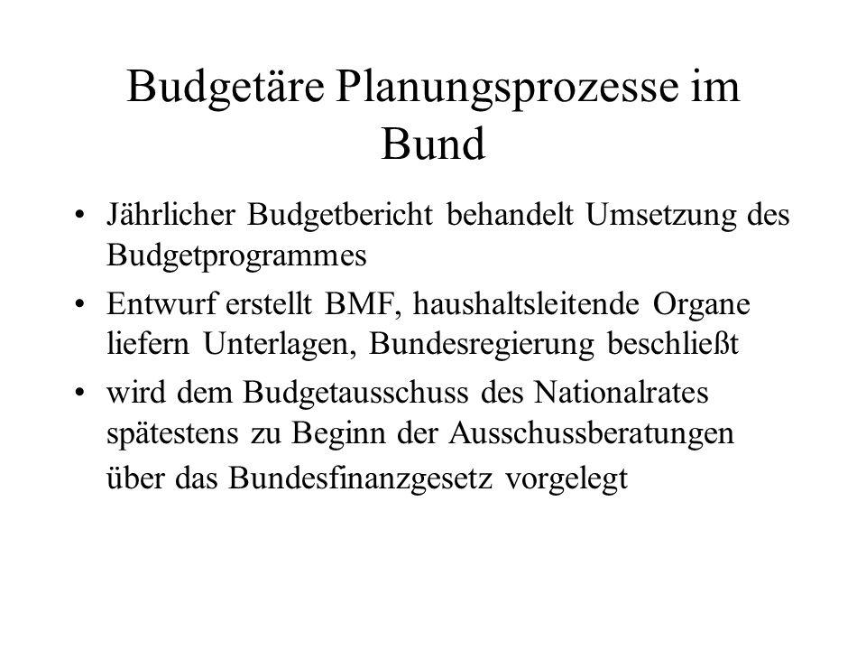 Budgetäre Planungsprozesse im Bund