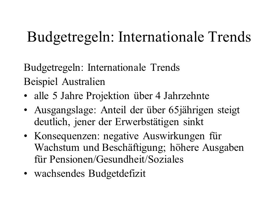 Budgetregeln: Internationale Trends