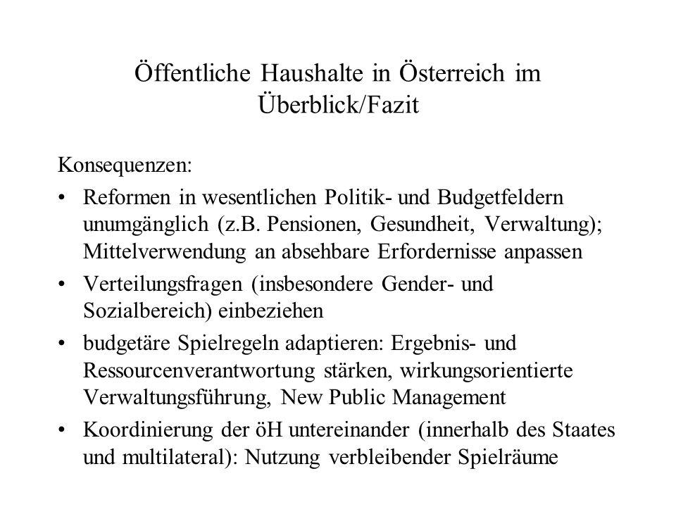 Öffentliche Haushalte in Österreich im Überblick/Fazit