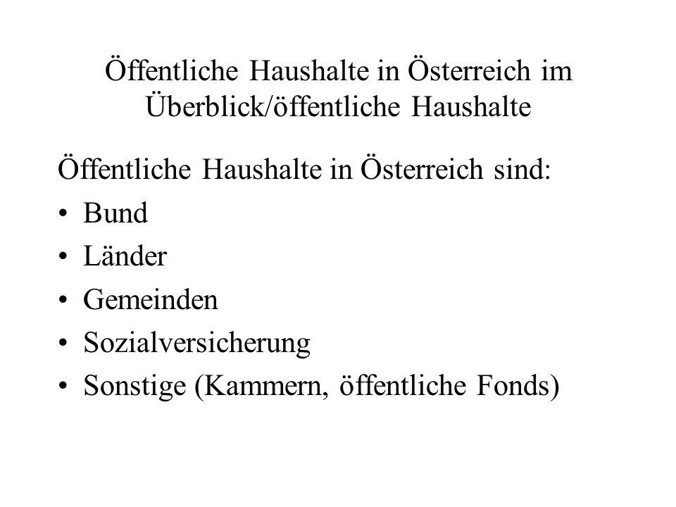 Öffentliche Haushalte in Österreich im Überblick/öffentliche Haushalte