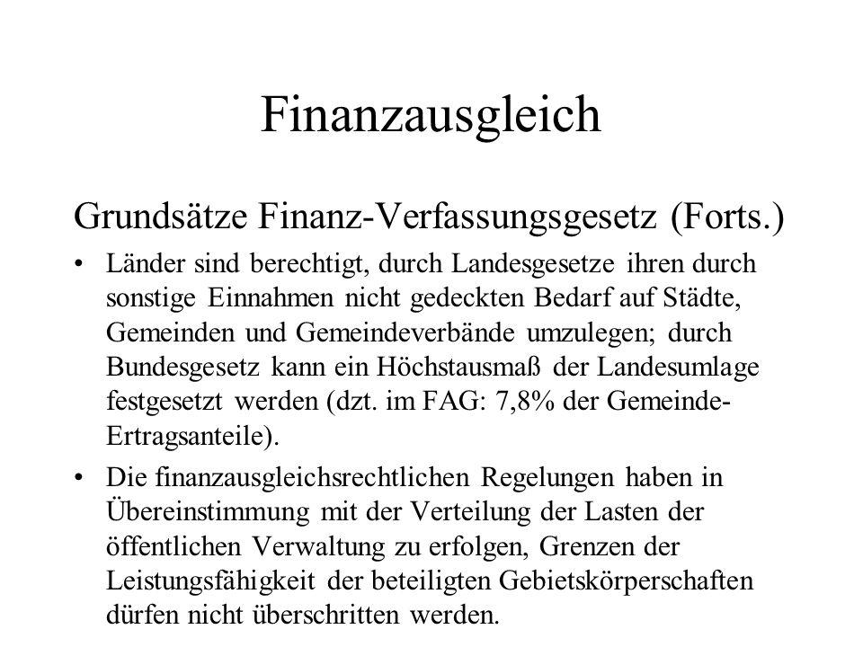 Finanzausgleich Grundsätze Finanz-Verfassungsgesetz (Forts.)