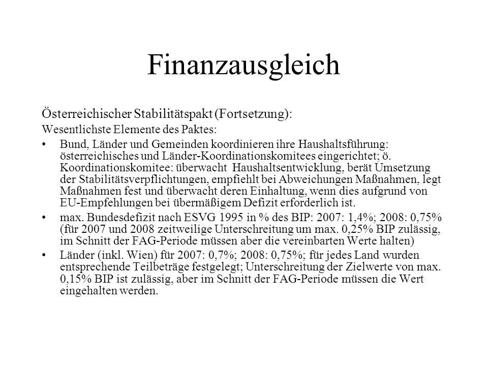 Finanzausgleich Österreichischer Stabilitätspakt (Fortsetzung):