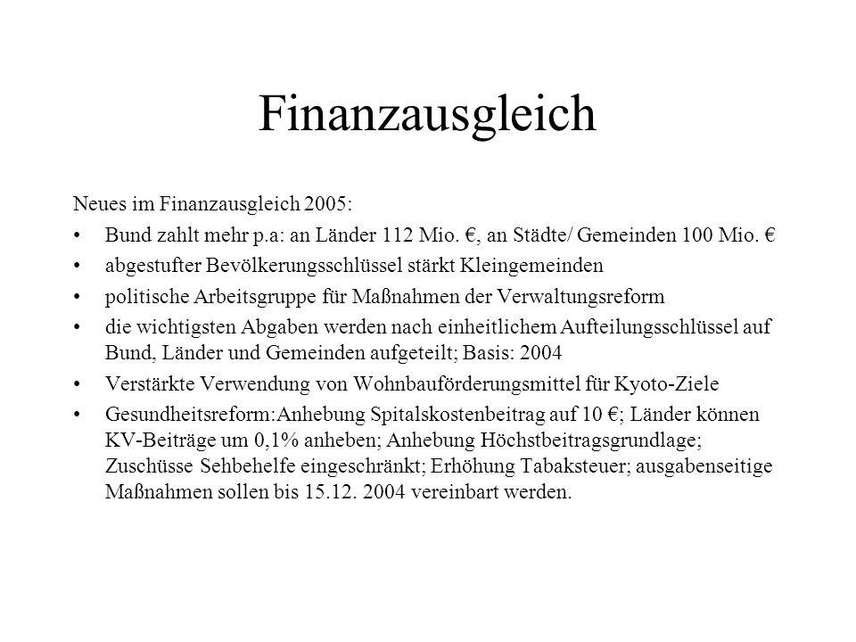 Finanzausgleich Neues im Finanzausgleich 2005: