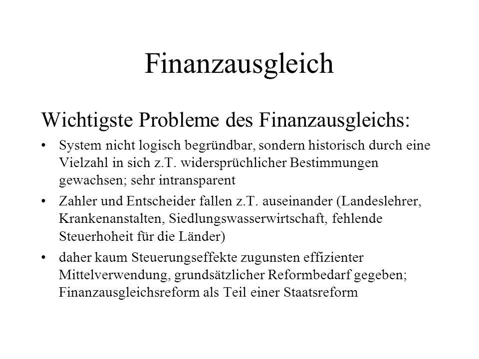 Finanzausgleich Wichtigste Probleme des Finanzausgleichs:
