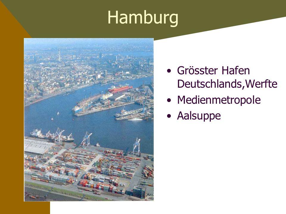 Hamburg Grösster Hafen Deutschlands,Werfte Medienmetropole Aalsuppe