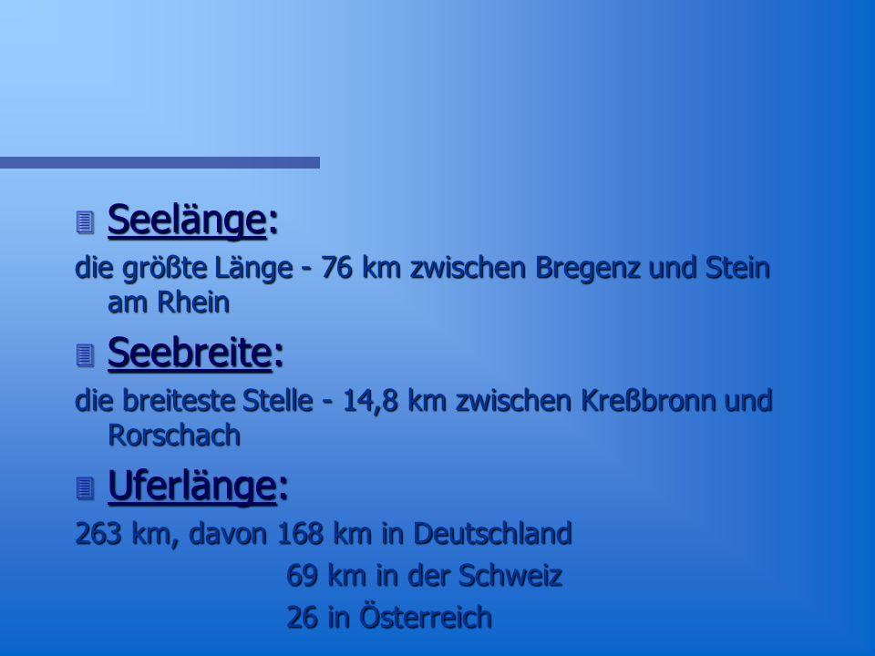 Seelänge: Seebreite: Uferlänge: