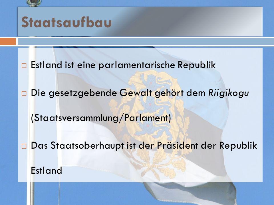 Staatsaufbau Estland ist eine parlamentarische Republik