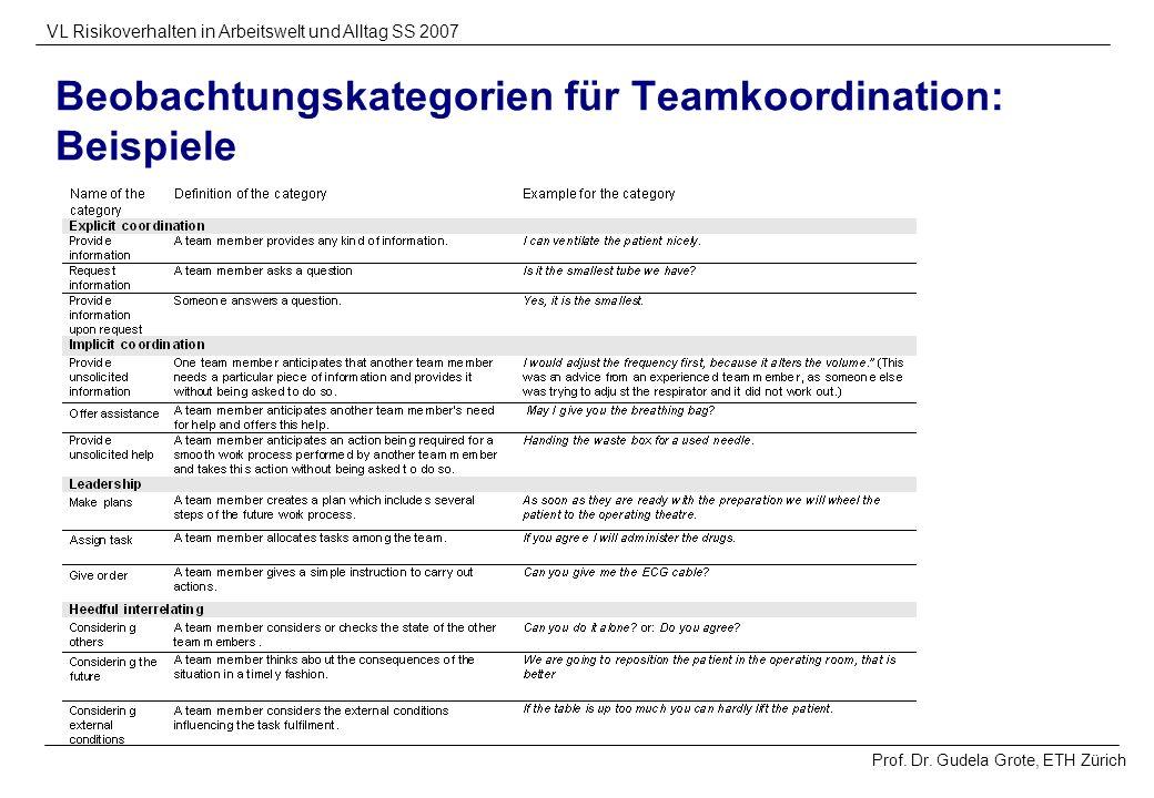 Beobachtungskategorien für Teamkoordination: Beispiele