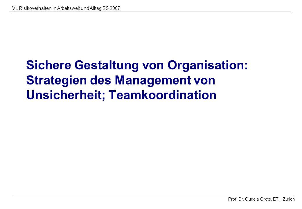 Sichere Gestaltung von Organisation: Strategien des Management von Unsicherheit; Teamkoordination