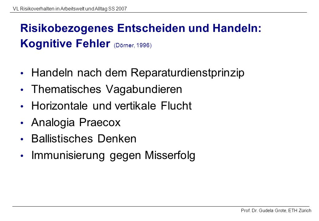 Risikobezogenes Entscheiden und Handeln: Kognitive Fehler (Dörner, 1996)