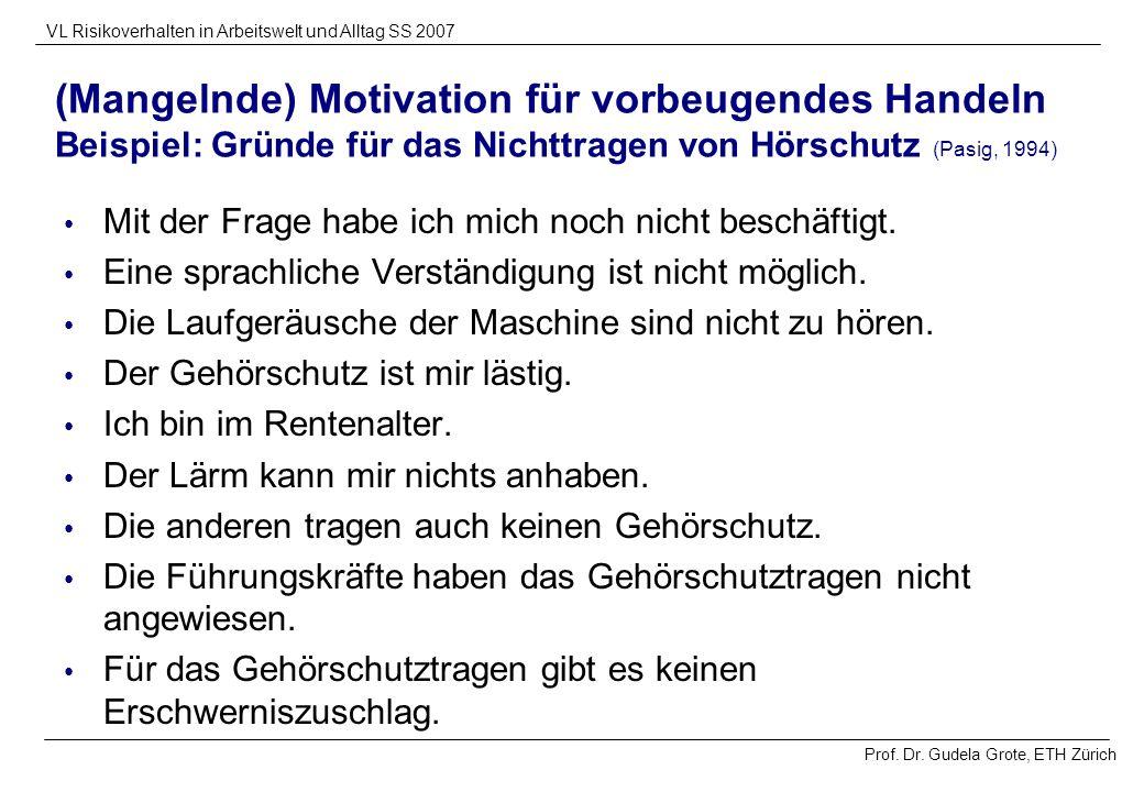 (Mangelnde) Motivation für vorbeugendes Handeln Beispiel: Gründe für das Nichttragen von Hörschutz (Pasig, 1994)