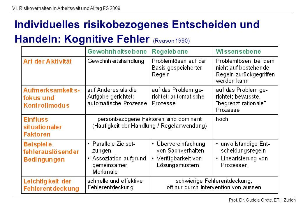Individuelles risikobezogenes Entscheiden und Handeln: Kognitive Fehler (Reason 1990)