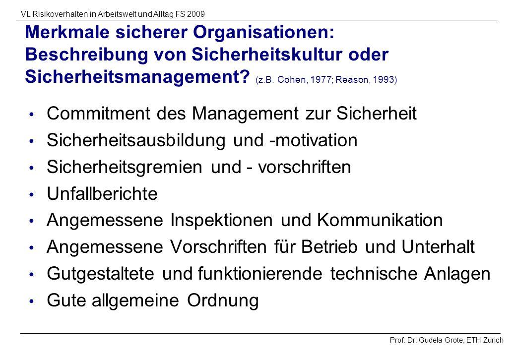 Merkmale sicherer Organisationen: Beschreibung von Sicherheitskultur oder Sicherheitsmanagement (z.B. Cohen, 1977; Reason, 1993)