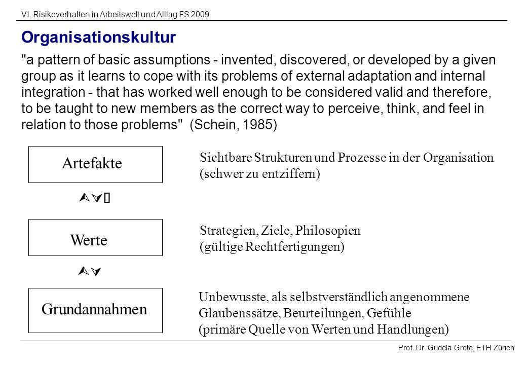 Organisationskultur Artefakte Werte Grundannahmen