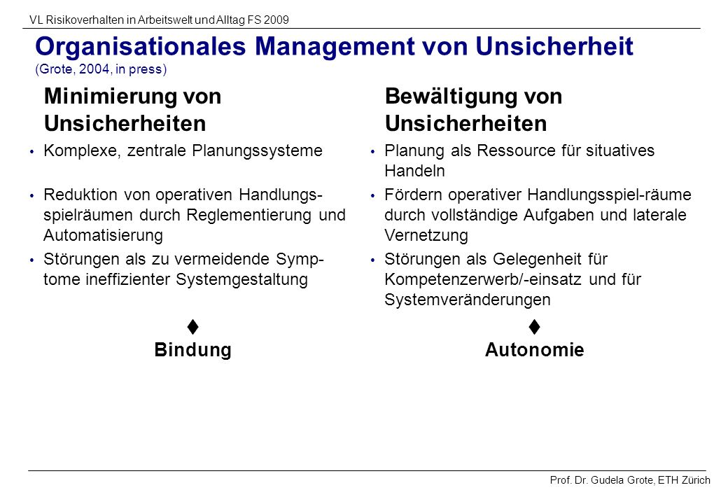 Organisationales Management von Unsicherheit (Grote, 2004, in press)