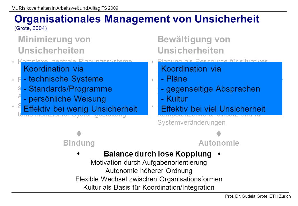 Organisationales Management von Unsicherheit (Grote, 2004)