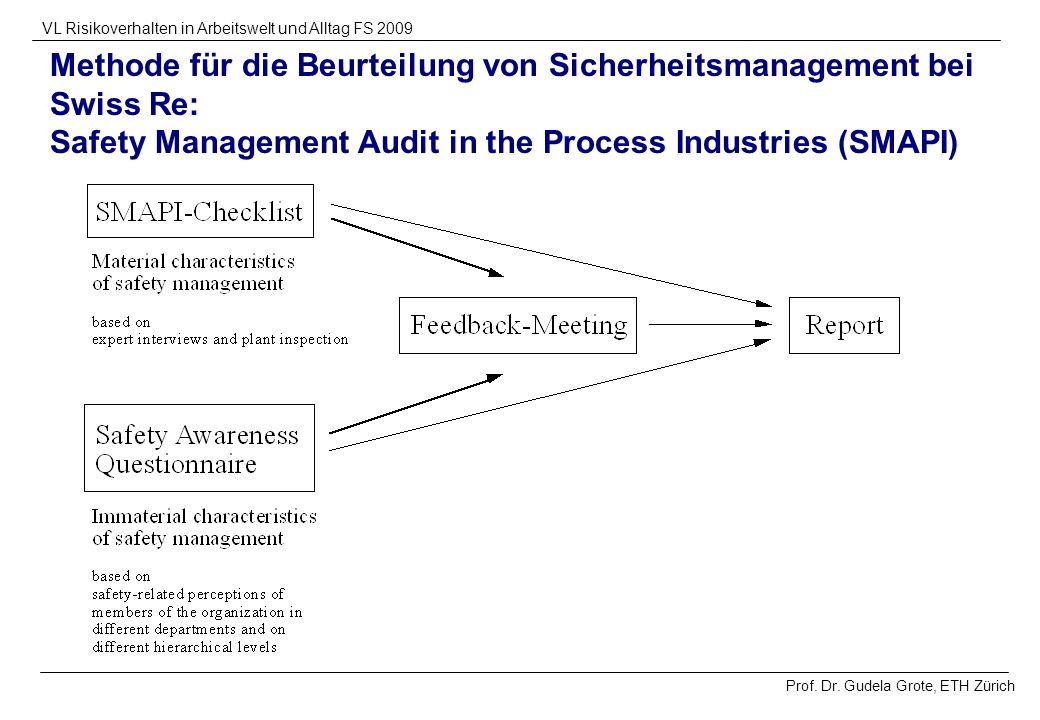 Methode für die Beurteilung von Sicherheitsmanagement bei Swiss Re: Safety Management Audit in the Process Industries (SMAPI)