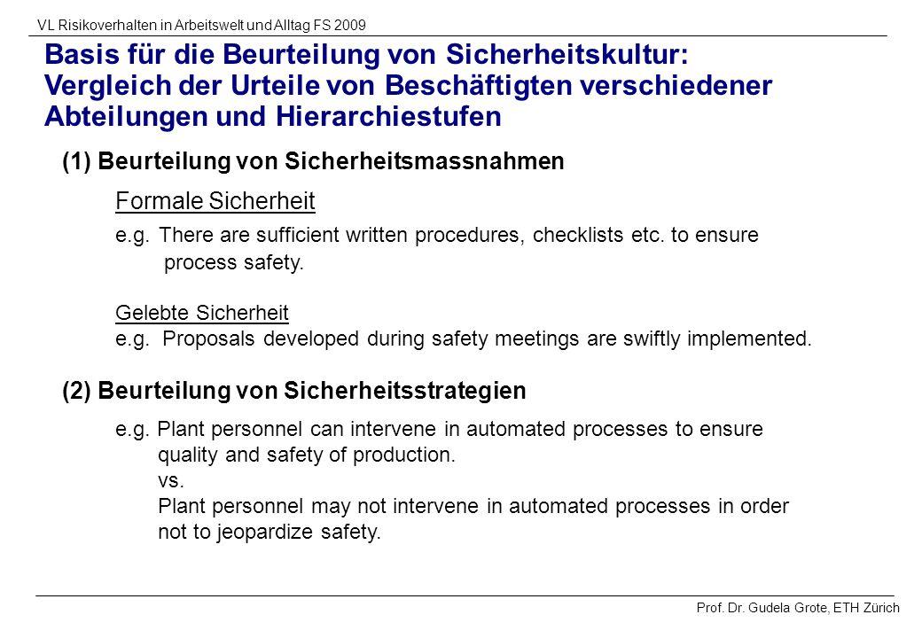Basis für die Beurteilung von Sicherheitskultur: Vergleich der Urteile von Beschäftigten verschiedener Abteilungen und Hierarchiestufen