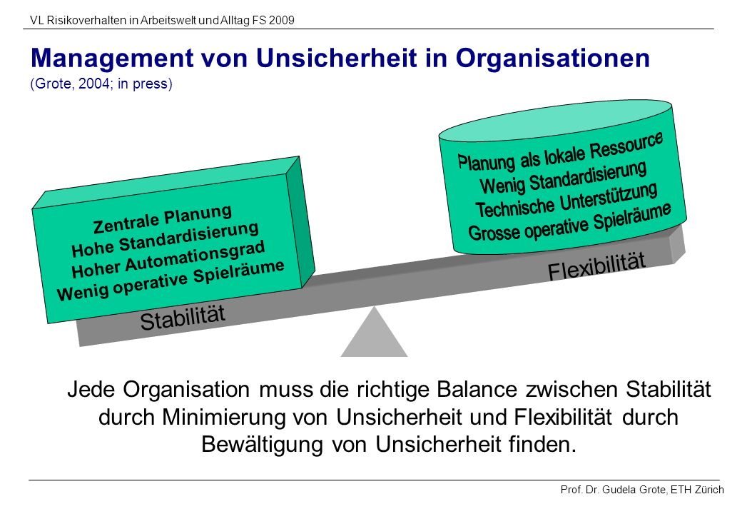 Management von Unsicherheit in Organisationen (Grote, 2004; in press)