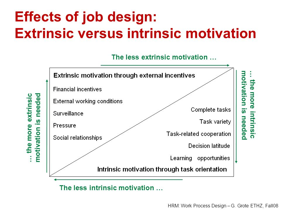 Effects of job design: Extrinsic versus intrinsic motivation