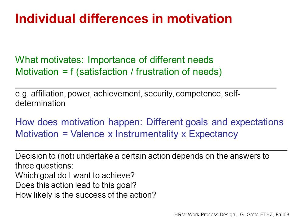 Individual differences in motivation
