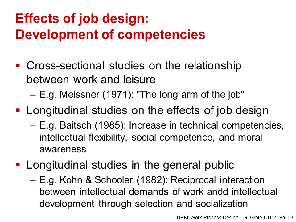 Effects of job design: Development of competencies